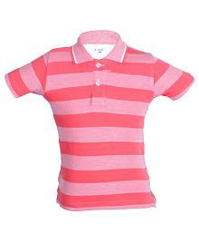 Gkidz Pink Half Sleeves Polo T-Shirt For Boys