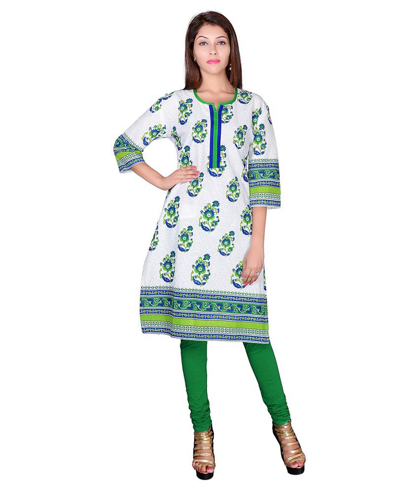 Jaipur Prints White Cotton Straight Kurti
