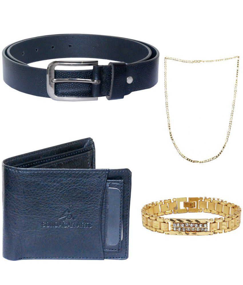 Sondagar Arts Multicolour Leather Single Belt for Men with Wallet and Chain, Bracelet