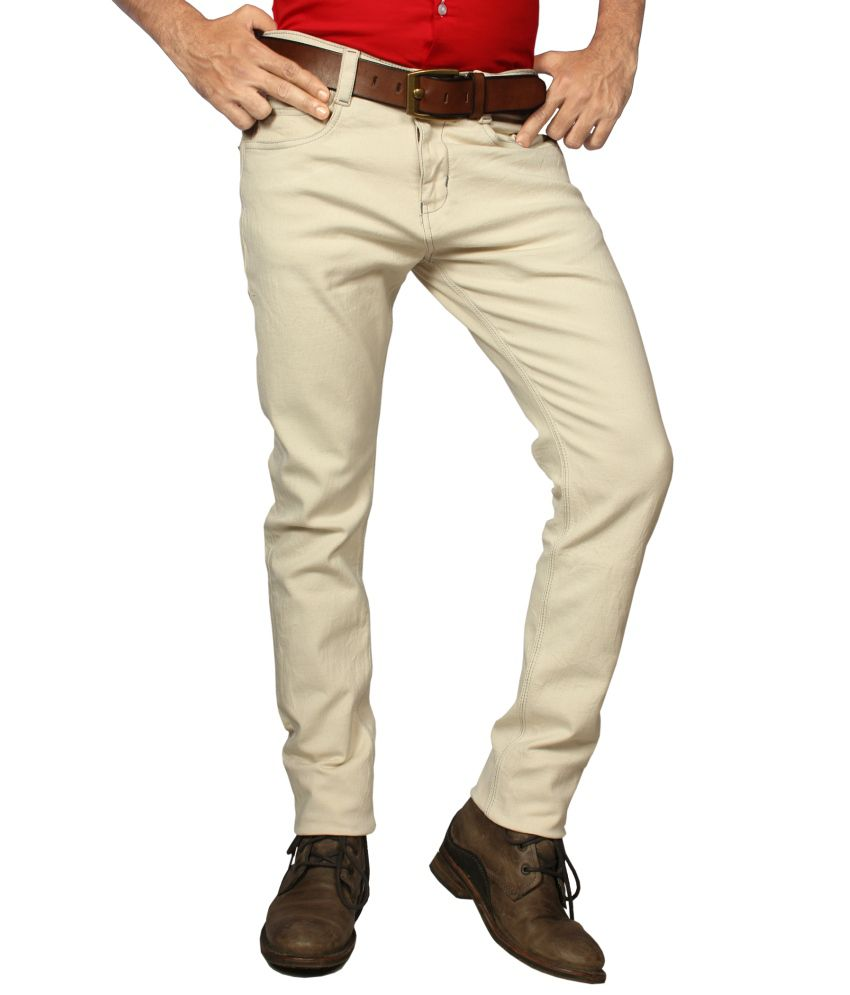 Mode De Base Italie Beige Slim Fit Solid Jeans