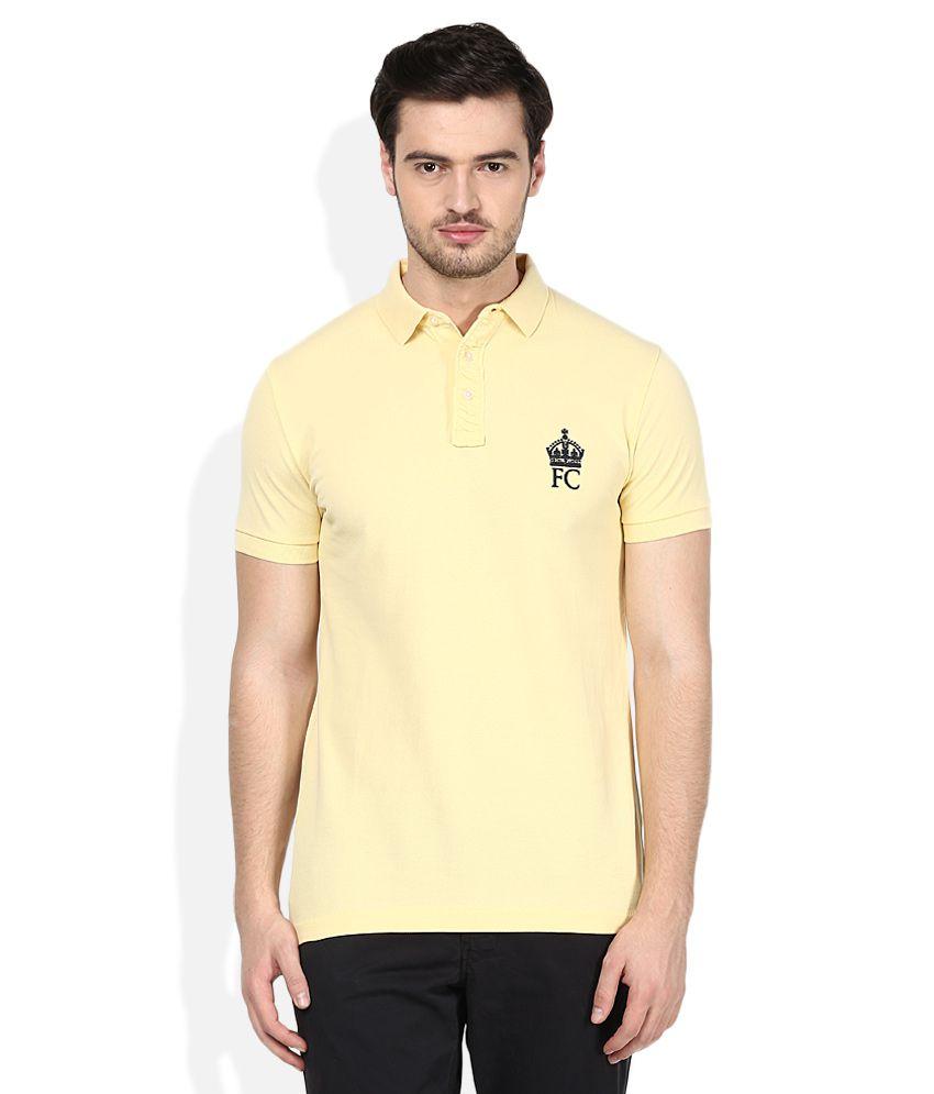 Fcuk yellow half sleeves polo t shirt buy fcuk yellow for Full sleeve polo t shirts