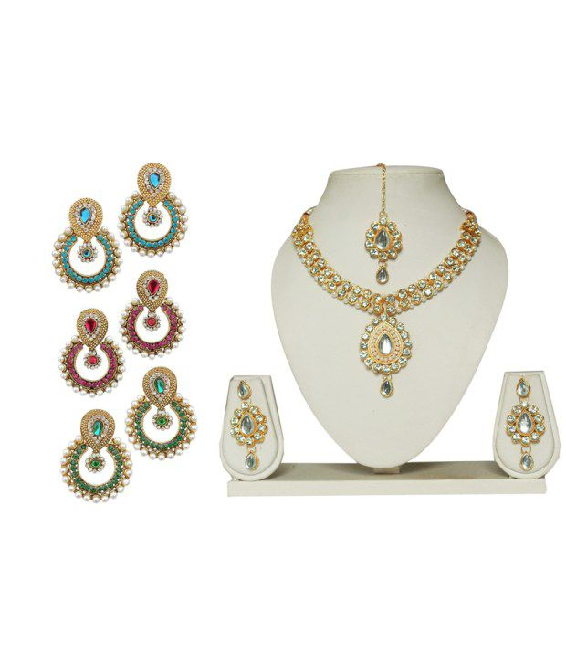Codice Combo of Multicolour 3 Pair Hanging Earrings and Necklace Set with Mang Tikka