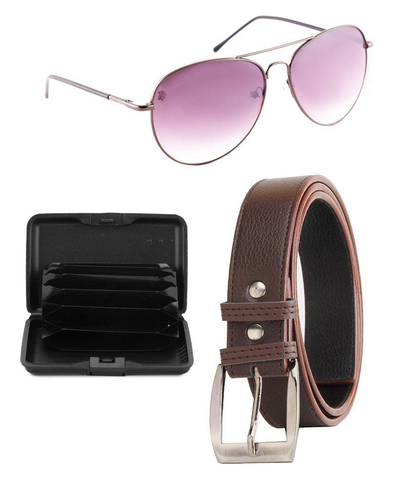 Elligator Brown Leather Belt For With Car Holder & Sunglasses