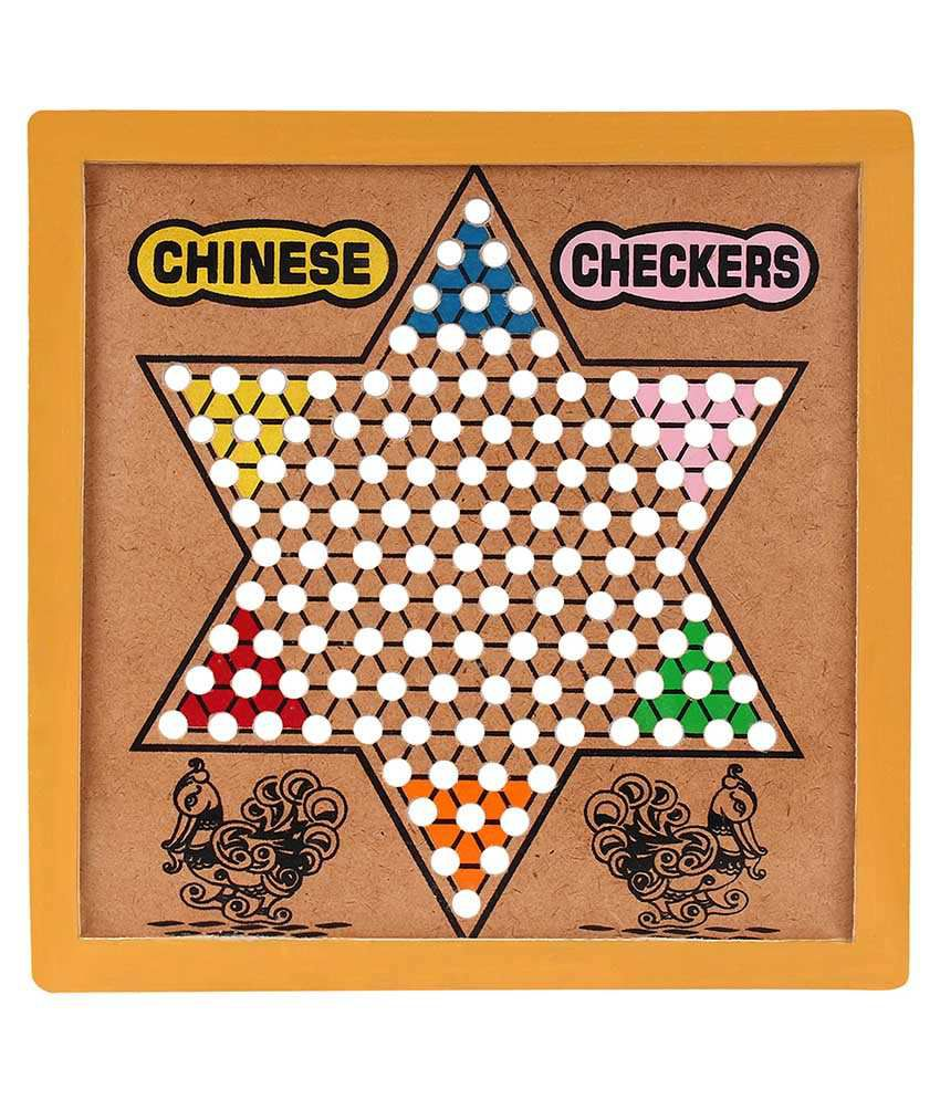 GBC Beige Wooden 2 In 1 Chinese Checkers & Chess Board