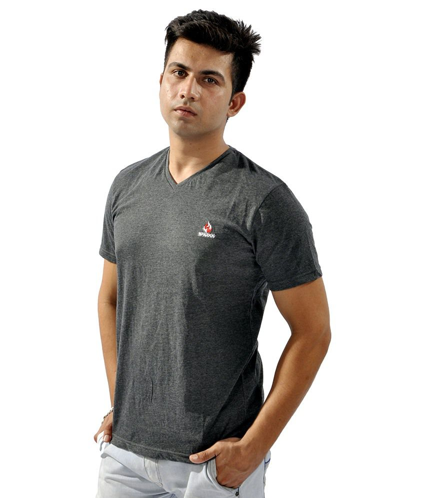 Sparkk Grey V-Neck T Shirts