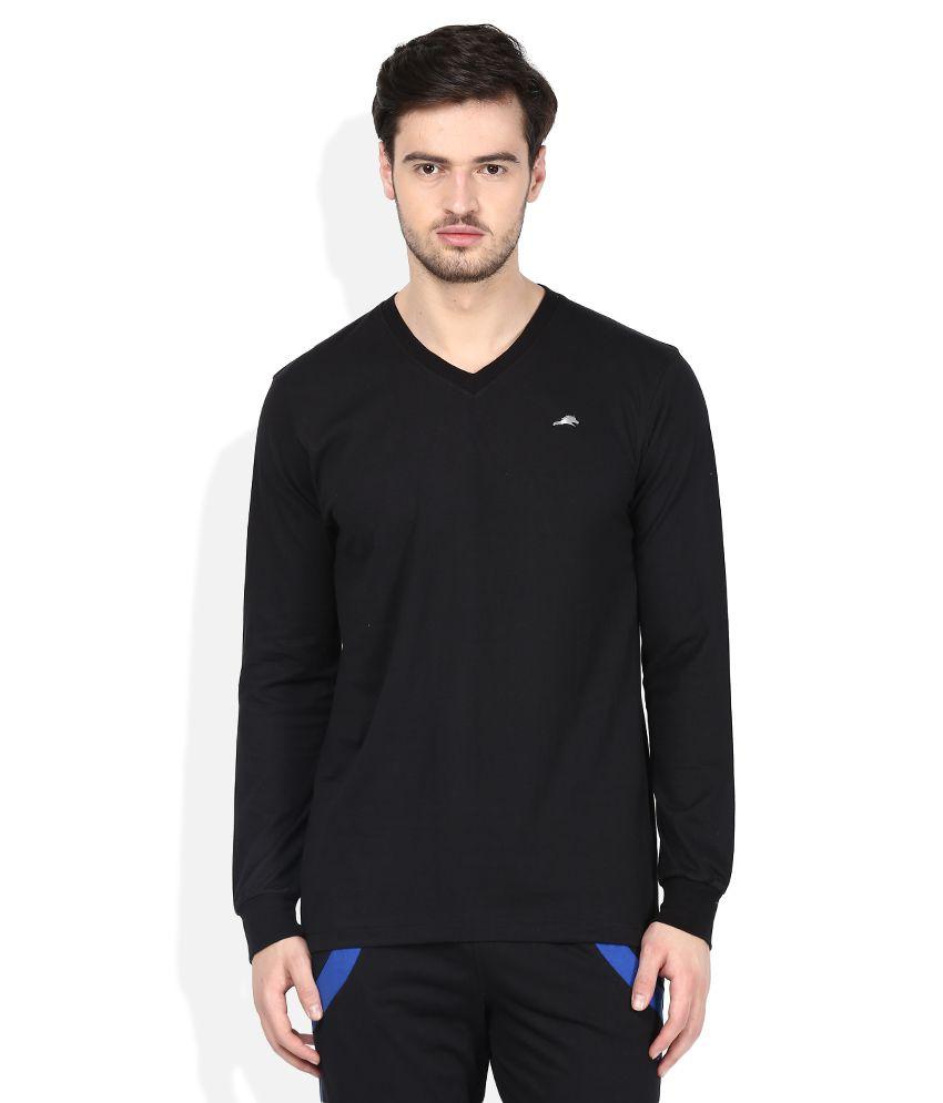 2go Black V-Neck Solids T-Shirt