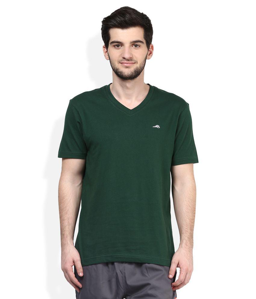 2go Green V-Neck Solids T-Shirt