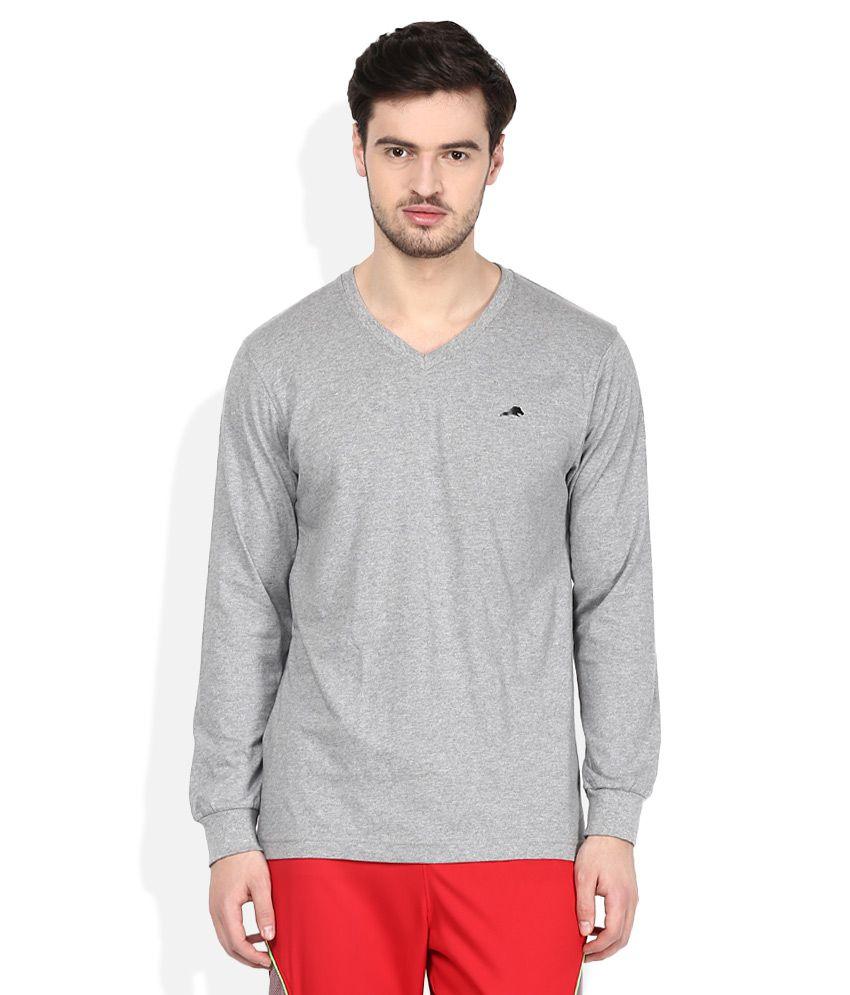 2go Grey V-Neck Solids T-Shirt