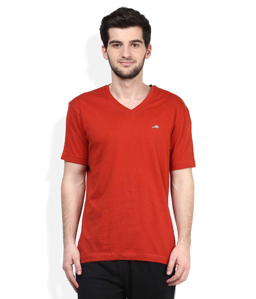 2go Orange V-Neck Solids T-Shirt