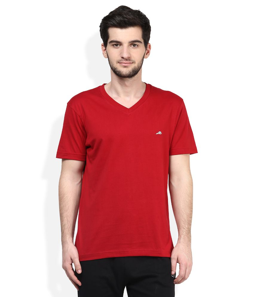 2go Red V-Neck Solids T-Shirt