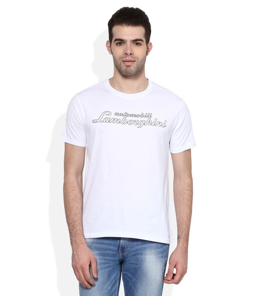 AUTOMOBILI LAMBORGHINI White Printed Regular Fit T-Shirt