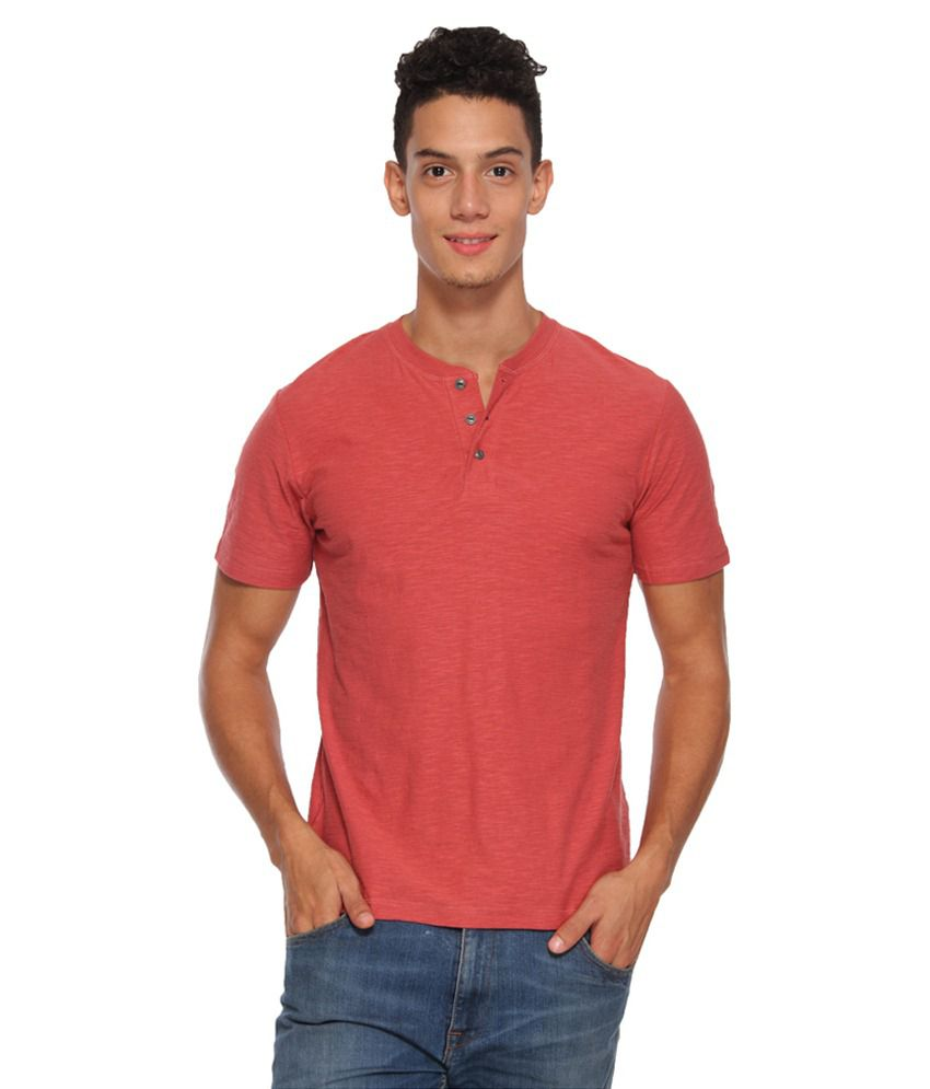 Arise By Beroe Red Henley T Shirts