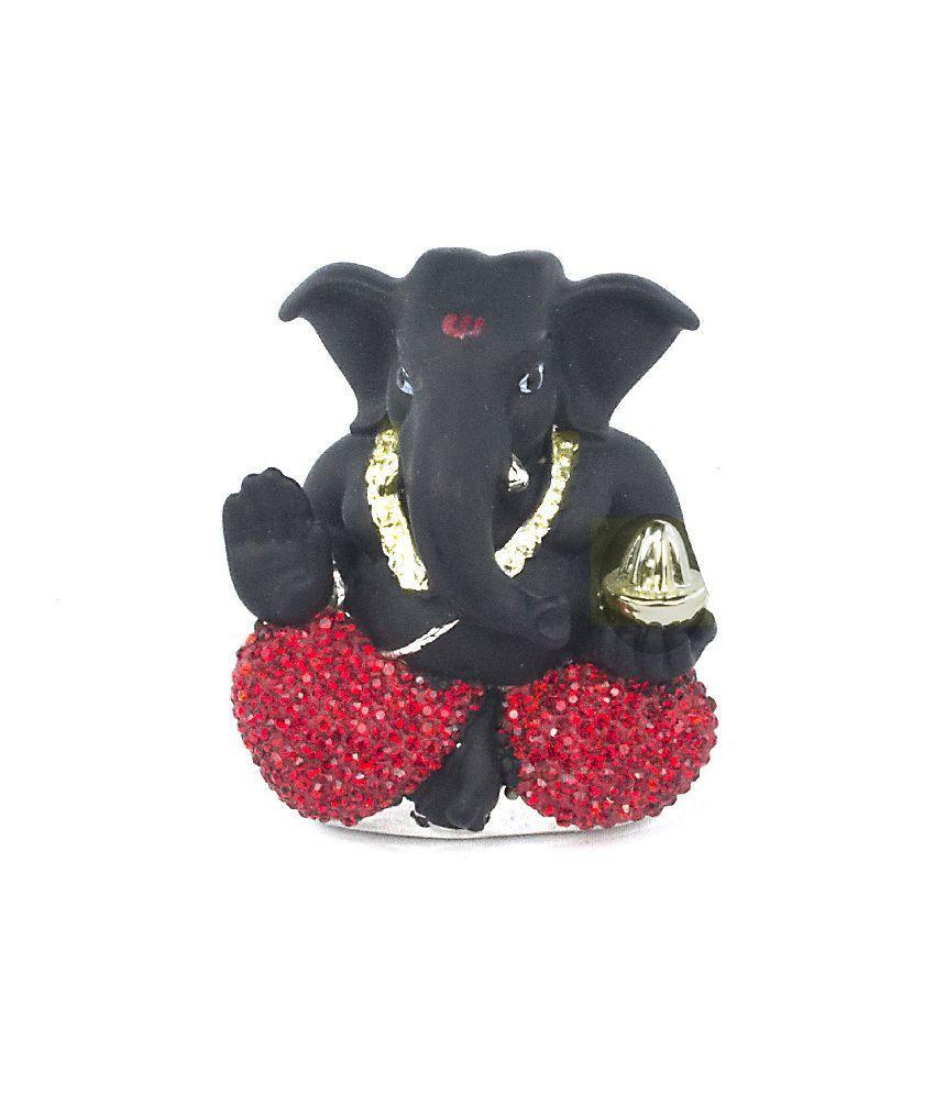 Beautiful Black and Red Diamond Ganesh Idol - 5 cm
