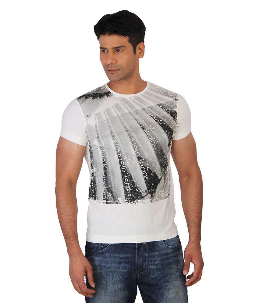 Calvin Klein White Round T Shirts