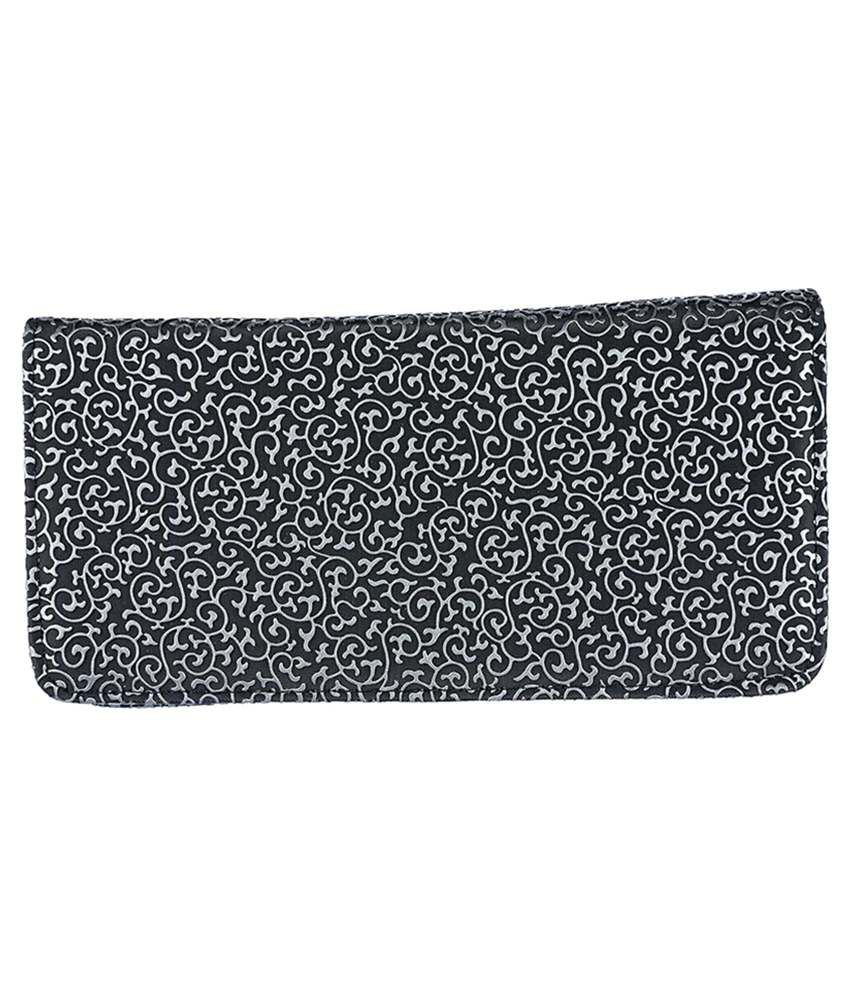 JG Shoppe Black Synthetic Fabric Long Wallet For Women