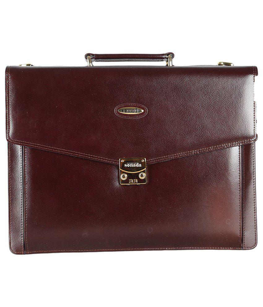 Premium Sonada Brown Leather Briefcase