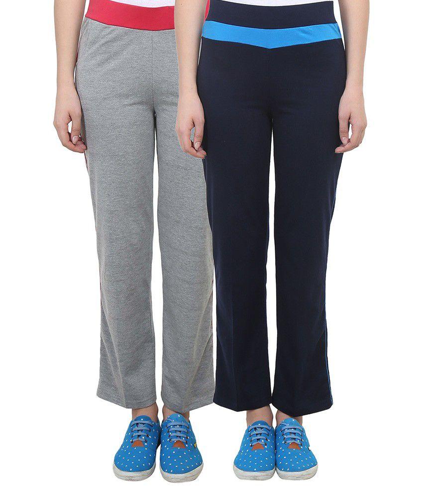 Vimal Grey Melange & Navy Blue Cotton Blend Trackpant For Women ( Pack Of 2)