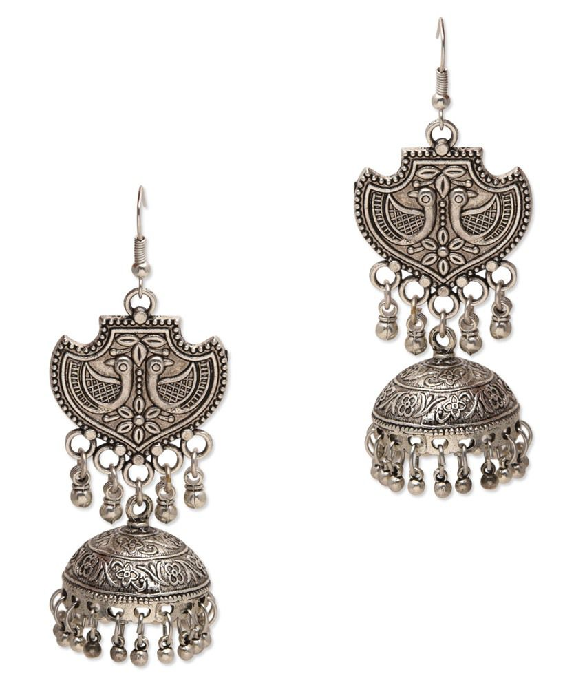 Watch Me Silver Alloy Designer Jhumki Earrings