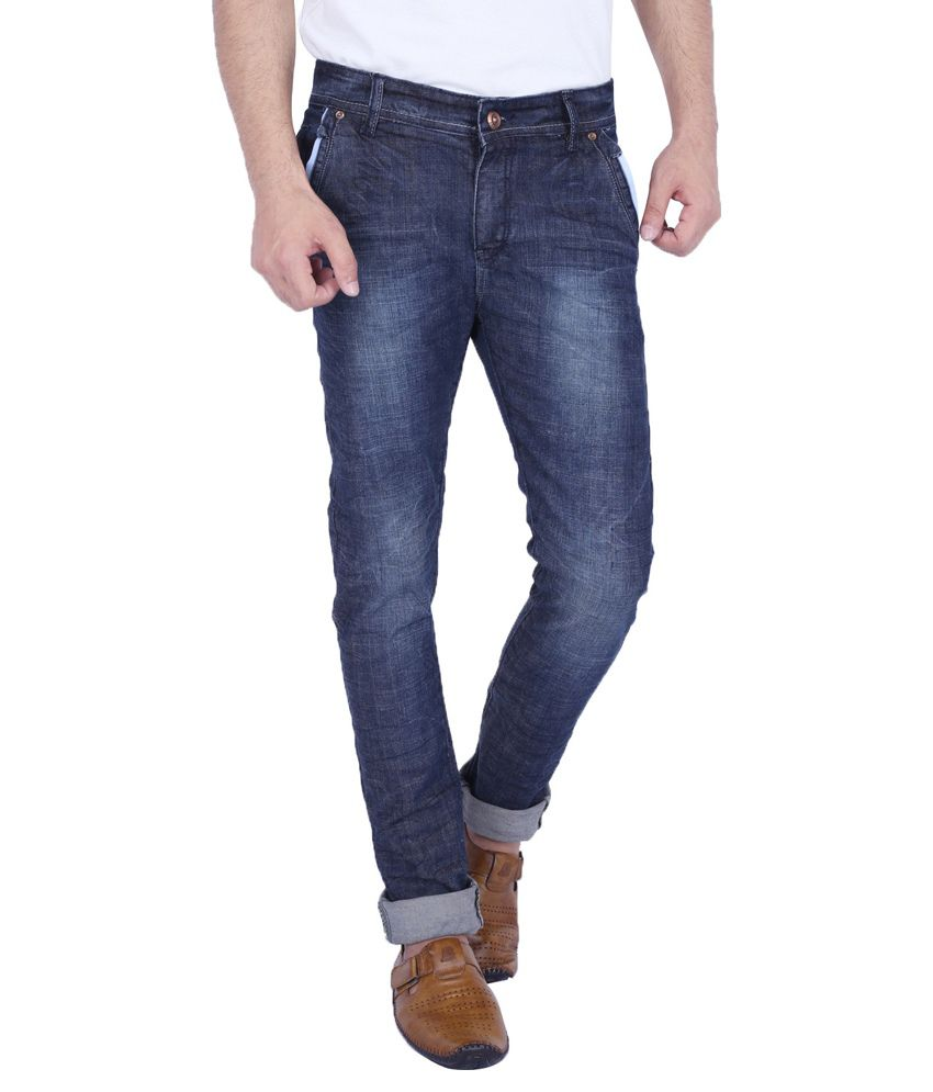 Linger's Blue Regular Fit Washed Jeans