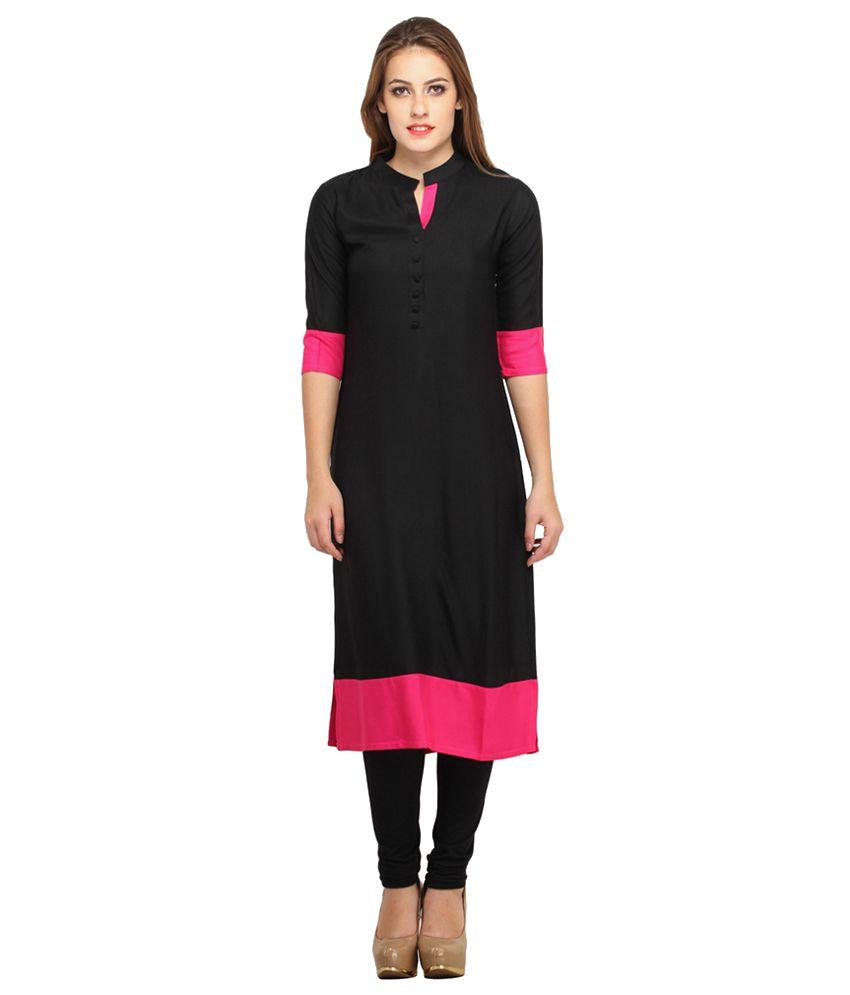 Mohini Fashion Black Cotton Straight Kurti