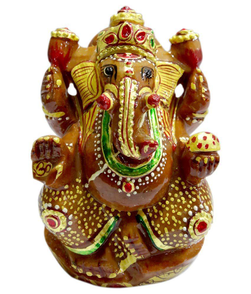 SS Murti Figurine Red Aventurine Stone Painted Ganesh 10 Cm
