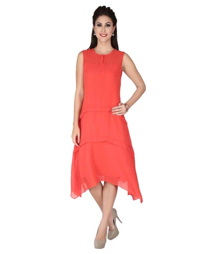 Soie Red Chiffon Dresses