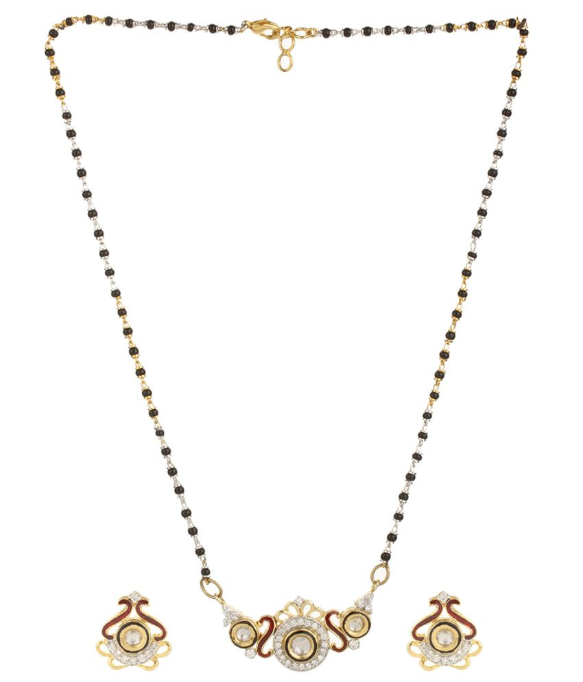 Dilan Jewels Black and Golden Alloy Mangalsutra Set
