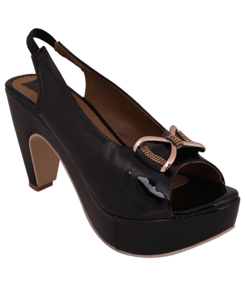 Footshez Black Block Heels