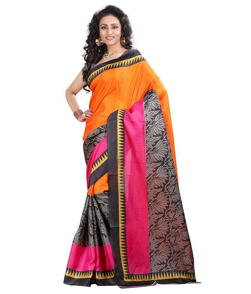 Velvetic Multi Color Bhagalpuri Silk Saree
