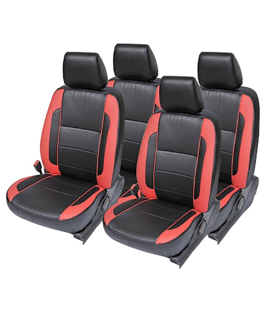 musicar black and red leatherite car seat cover toyota etios liva set of 4 buy musicar black. Black Bedroom Furniture Sets. Home Design Ideas