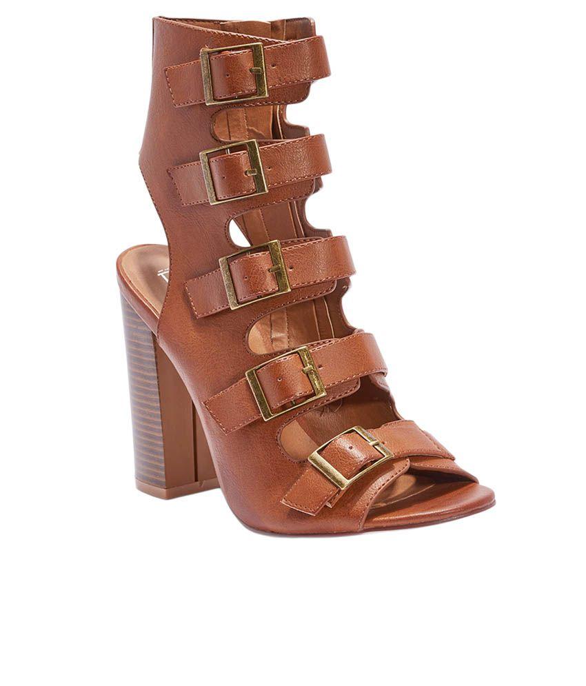 Truffle Collection Tan Block Heels