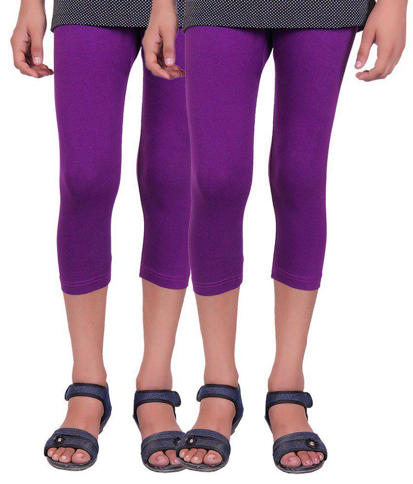 Alisha Purple Cotton Lycra Capri for Girls - Pack of 2