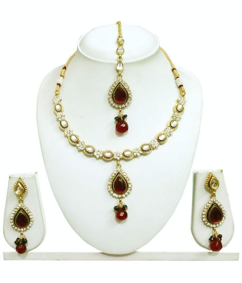 Arts Chetan Golden Alloy Necklace Set With Maang Tika - Pack of 2