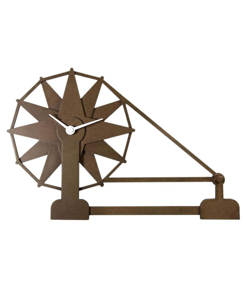 Mad(e) in India Wooden Charkha Wall Clock