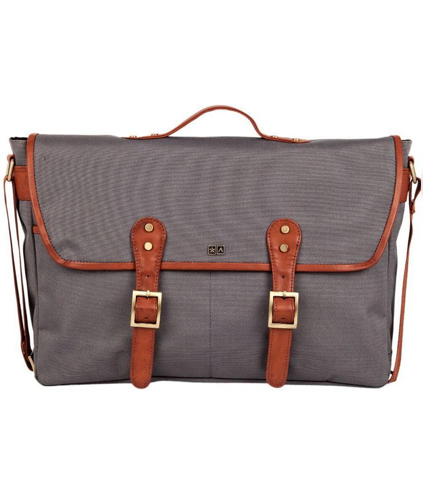 Atorse Grey Canvas Messenger Bag