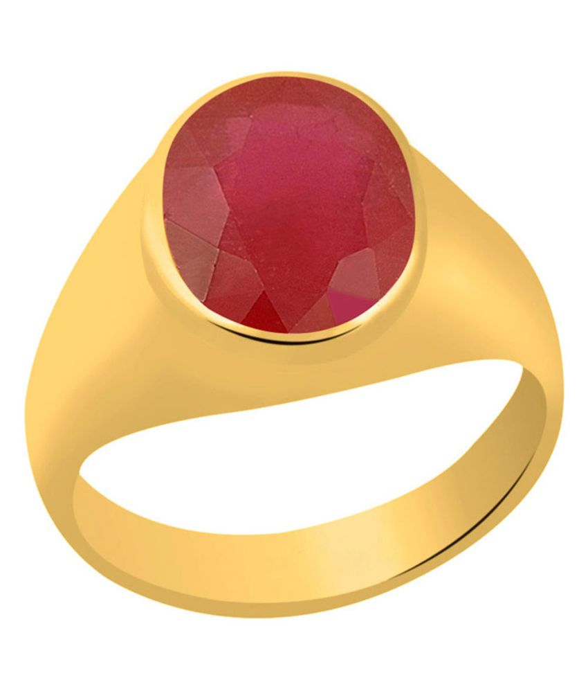 Clara Ruby Manik 4.8 Carat (5.25 Ratti) Panchdhatu Gold Plated Astrological Ring For Men & Women