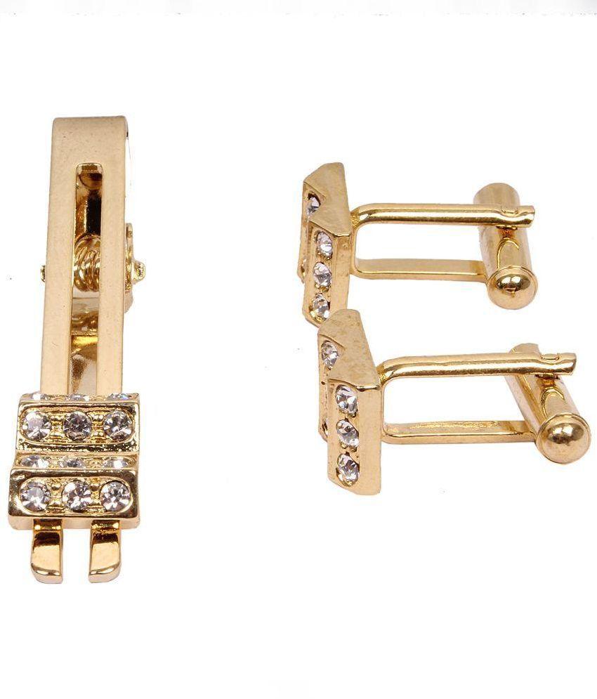 Jstarmart Combo of Golden Metallic Cufflinks and Tie Pin