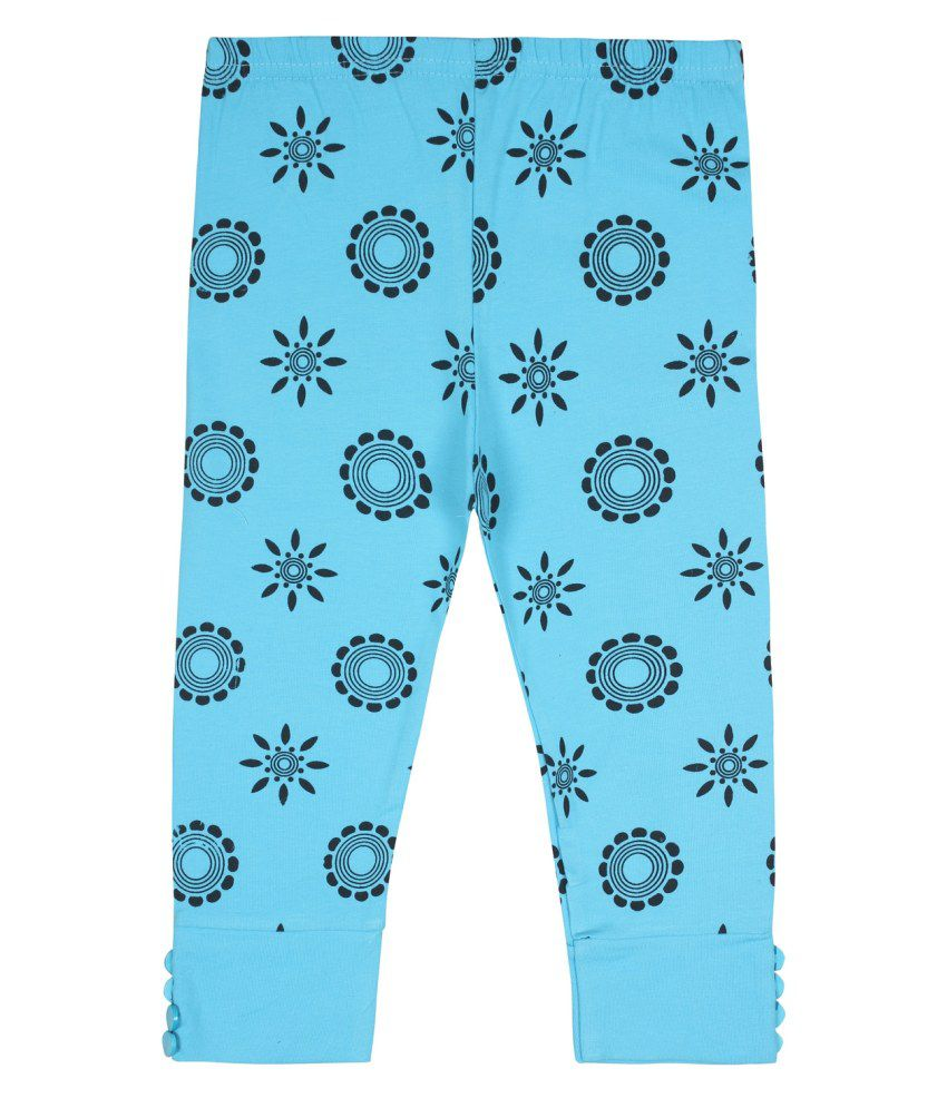 Jazzup Blue Cotton Blend Capris