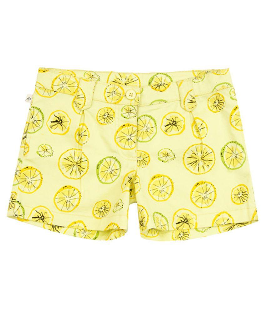 Aristot Yellow Cotton Spandex Shorts for kids girls