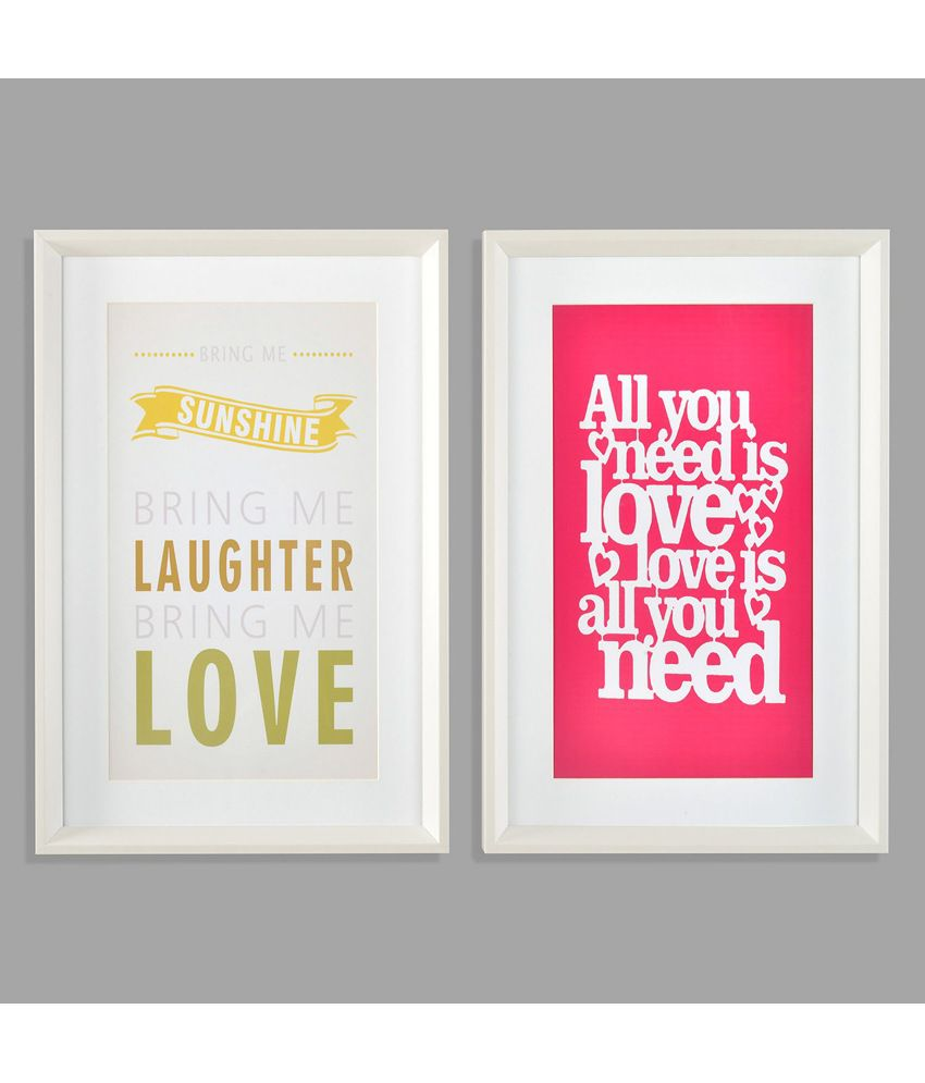 Nilkamal Pink Sayings Canvas Painting - Set Of 2