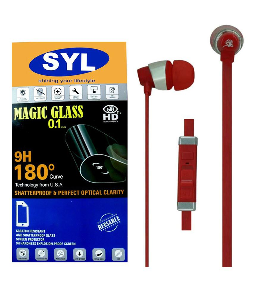 Huawei Honor 4X Tempered Glass Screen Guard with Earphones by SYL