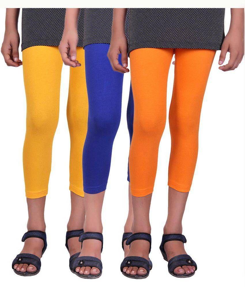 Alisha Multicolour Cotton Lycra Capri - Pack Of 3
