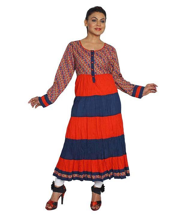 Ethnic Multicoloured Cotton Anarkali Kurti
