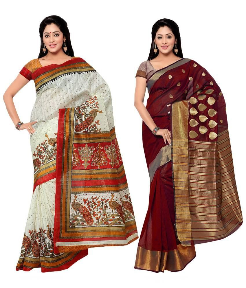Prachi Silk Mills Multicoloured Cotton Silk Saree Combos