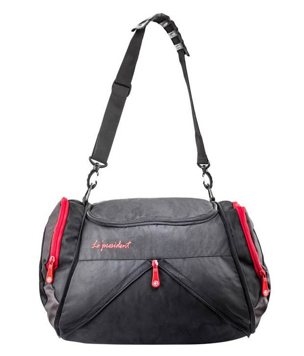 President s Black and Red Polyester Gym Bag