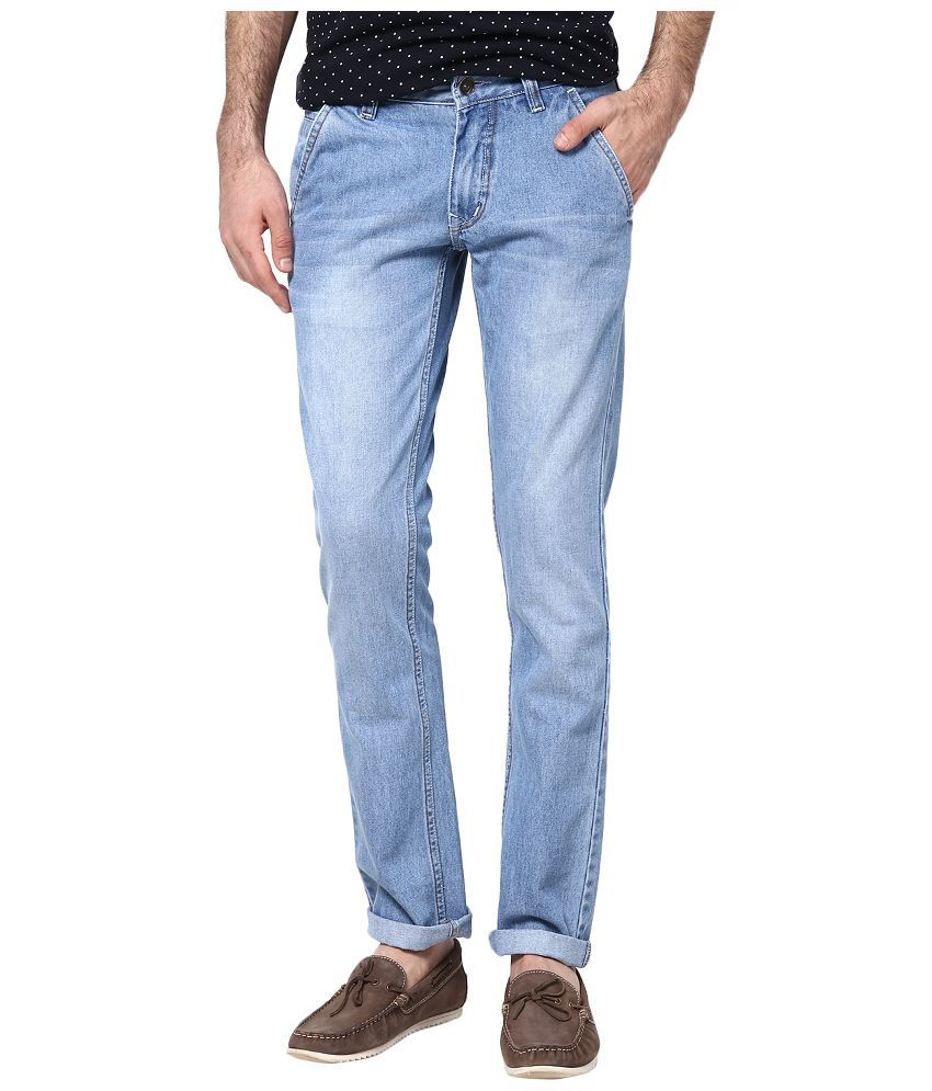 SuperX Blue Slim Fit Faded Jeans