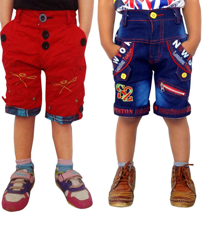 Ad & Av Red And Blue Shorts For Boys - Pack Of 2