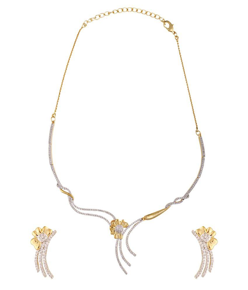 Cygnet Jewels Golden Alloy CZ Necklace Set