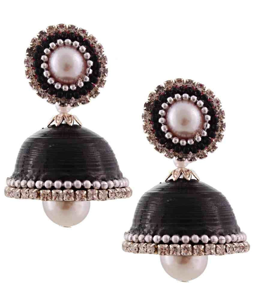 Jaipur Raga Black Acrylic Jhumki Earrings