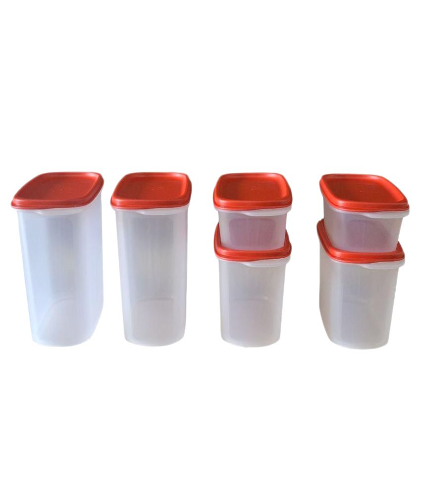 Tupperware Red Smart Saver Plastic Container - Set of 6: Buy Online ...